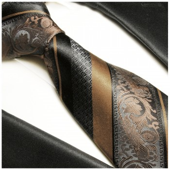 Brown black tie 100% silk mens necktie striped baroque 2033