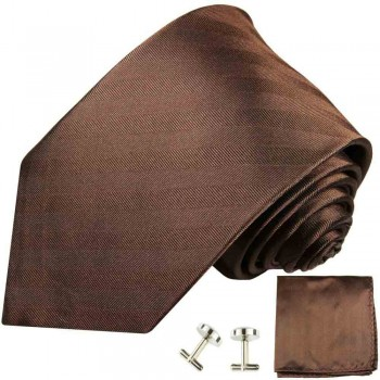 Brown mens tie solid necktie - silk tie and pocket square and cufflinks