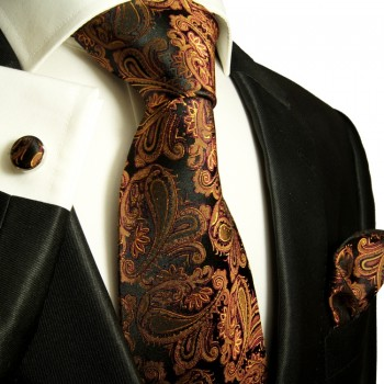 Brown necktie set 3pcs + handkerchief + cufflinks 630