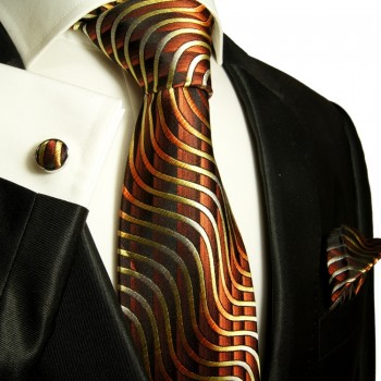 Brown necktie set 3pcs + handkerchief + cufflinks 751