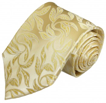 Paul Malone tie gold cream necktie floral v15