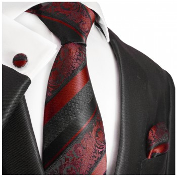 Dark red black striped necktie set 3pcs + handkerchief + cufflinks 2032