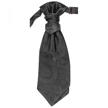 Wedding cravat black paisley ascot tie