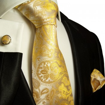 Yellow paisley necktie set 3pcs + handkerchief + cufflinks 427