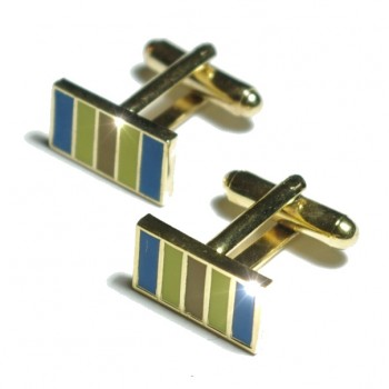 Gold green blue cufflinks from Paul Malone Ma06