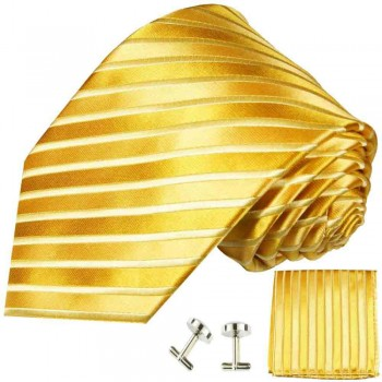 gold mens tie striped necktie - silk tie and pocket square and cufflinks