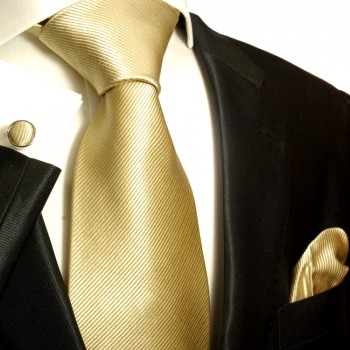 Tan necktie set 100% silk tie + handkerchief + cufflinks 804