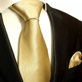 Gold tan necktie set 2pcs 100% silk tie + handkerchief 804