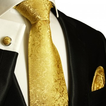 Gold necktie set 3pcs + handkerchief + cufflinks 902