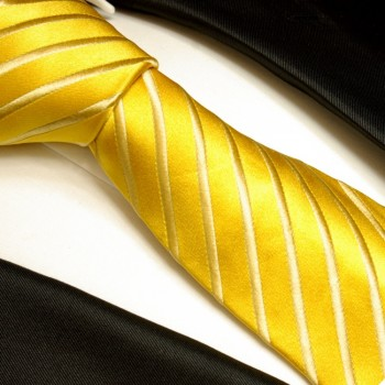 Yellow gold tie 100% silk mens necktie striped 681