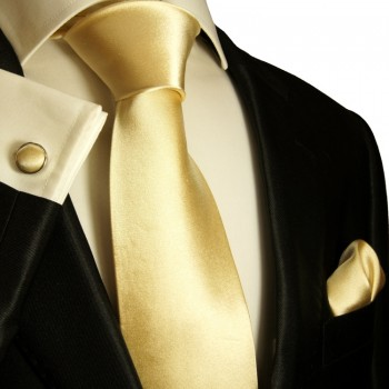 Solid gold tan necktie set 3pcs + handkerchief + cufflinks 980