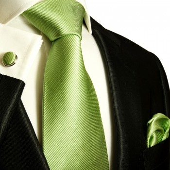 Green necktie set 3pcs + handkerchief + cufflinks 504