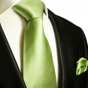 Silk Necktie Set 2pcs. mens tie and pocket square plain green 504