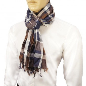 Men Crinkle Scarf blue brown white 100% cotton HS1