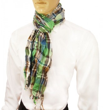 Men Crinkle Scarf blue white green brown 100% cotton HS8