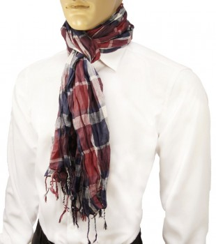 Men Crinkle Scarf red blue white 100% cotton HS5