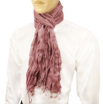 Men Crinkle Scarf red white 100% cotton HS3