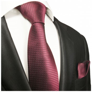 Silk Necktie Set 2pcs. mens tie and pocket square red pink checkered 2055