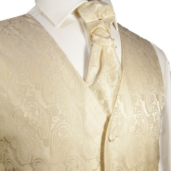 Champagner waistcoat for wedding with necktie ascot tie pocket square and cufflinks v26