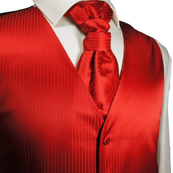 Solid red waistcoat for wedding with necktie ascot tie pocket square and cufflinks v24