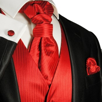 Wedding vest set with Ascot tie solid red v24