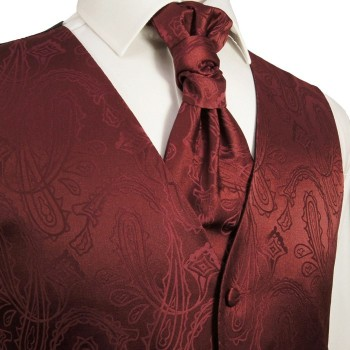 Burgundy red waistcoat paisley for wedding with necktie ascot tie pocket square and cufflinks v1