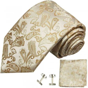 Ivory brown mens tie paisley necktie - silk tie and pocket square and cufflinks