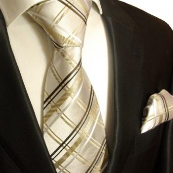 Paul Malone Krawatte ivory braun gestreift elfenbein braune Seidenkrawatte 943