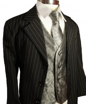 Kids tuxedo suit black pinestripes with gray vest set