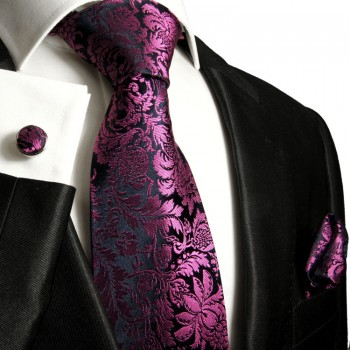 pink blue tie floral necktie - silk mens tie and pocket square and cufflinks