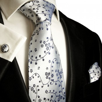 blue tie floral necktie - silk mens tie and pocket square and cufflinks