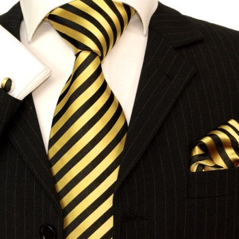 gold black mens tie striped necktie - silk tie and pocket square and cufflinks