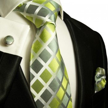 green tie checkered necktie - silk mens tie and pocket square and cufflinks