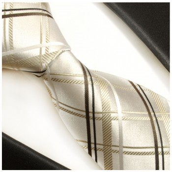 Gold ivory brown black necktie 100% silk mens tie plaid 943