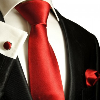 Solid red necktie set 3pcs + handkerchief + cufflinks 982