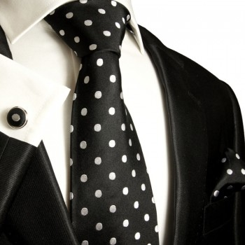 black silver mens tie polka dots necktie - silk tie and pocket square and cufflinks