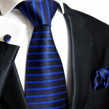 blue mens tie striped necktie - silk tie and pocket square and cufflinks