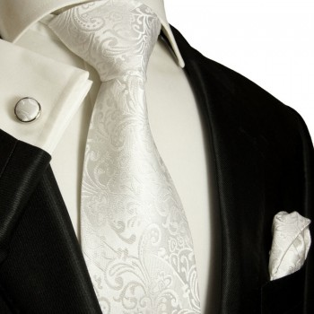 White necktie set 3pcs + handkerchief + cufflinks 946