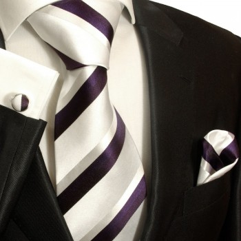 White silver purple necktie set 3pcs + handkerchief + cufflinks 944
