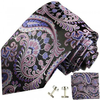 Purple mens tie paisley necktie - silk tie and pocket square and cufflinks
