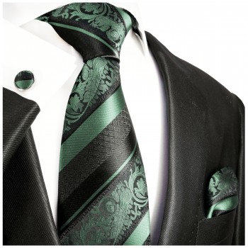 Mint green tie baroque striped necktie - silk mens tie and pocket square and cufflinks
