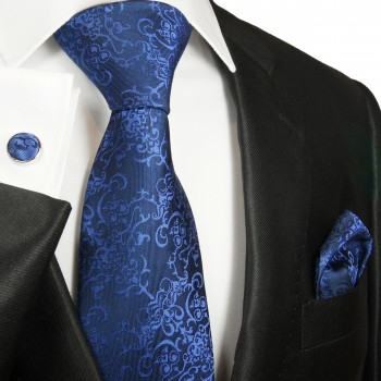Blue navy necktie set 3pcs + handkerchief + cufflinks 2050