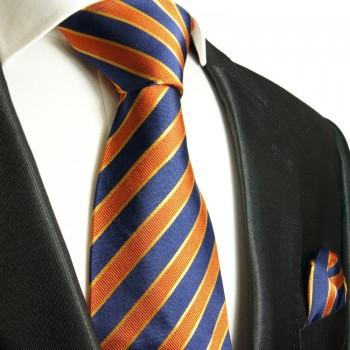 Blue Orange Silk Necktie Set 2pcs. Tie + Handkerchief 728