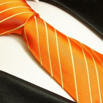Orange tie 100% silk mens tie striped necktie 884