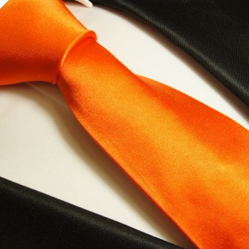 Orange tie 100% silk mens tie solid satin necktie 945