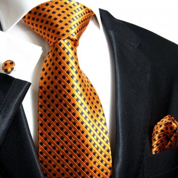 Orange necktie set 100% silk tie + handkerchief + cufflinks 310