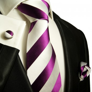 Pink white necktie set 3pcs + handkerchief + cufflinks 451