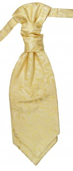 Cravat cream gold floral | pre-tied wedding ascot tie PLv15