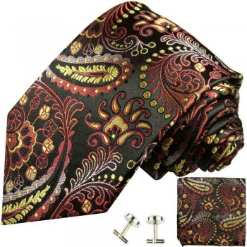 Red yellow mens tie paisley necktie - silk tie and pocket square and cufflinks