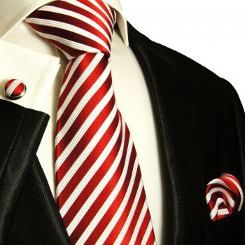 Paul Malone red necktie set 3pcs + handkerchief + cufflinks 852